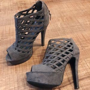G by Guess Grey Platform Heels
